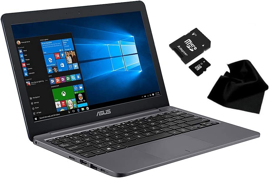 """Newest Flagship ASUS VivoBook E12, 11.6"""" HD (1366 x 768), Intel Celeron N3060, 4 GB LPDDR4, 64GB eMMC, Intel HD Graphics 500, Windows 10 Home in S Mode, L203NADS04, with KWALICABLE Accessory Bundle"""