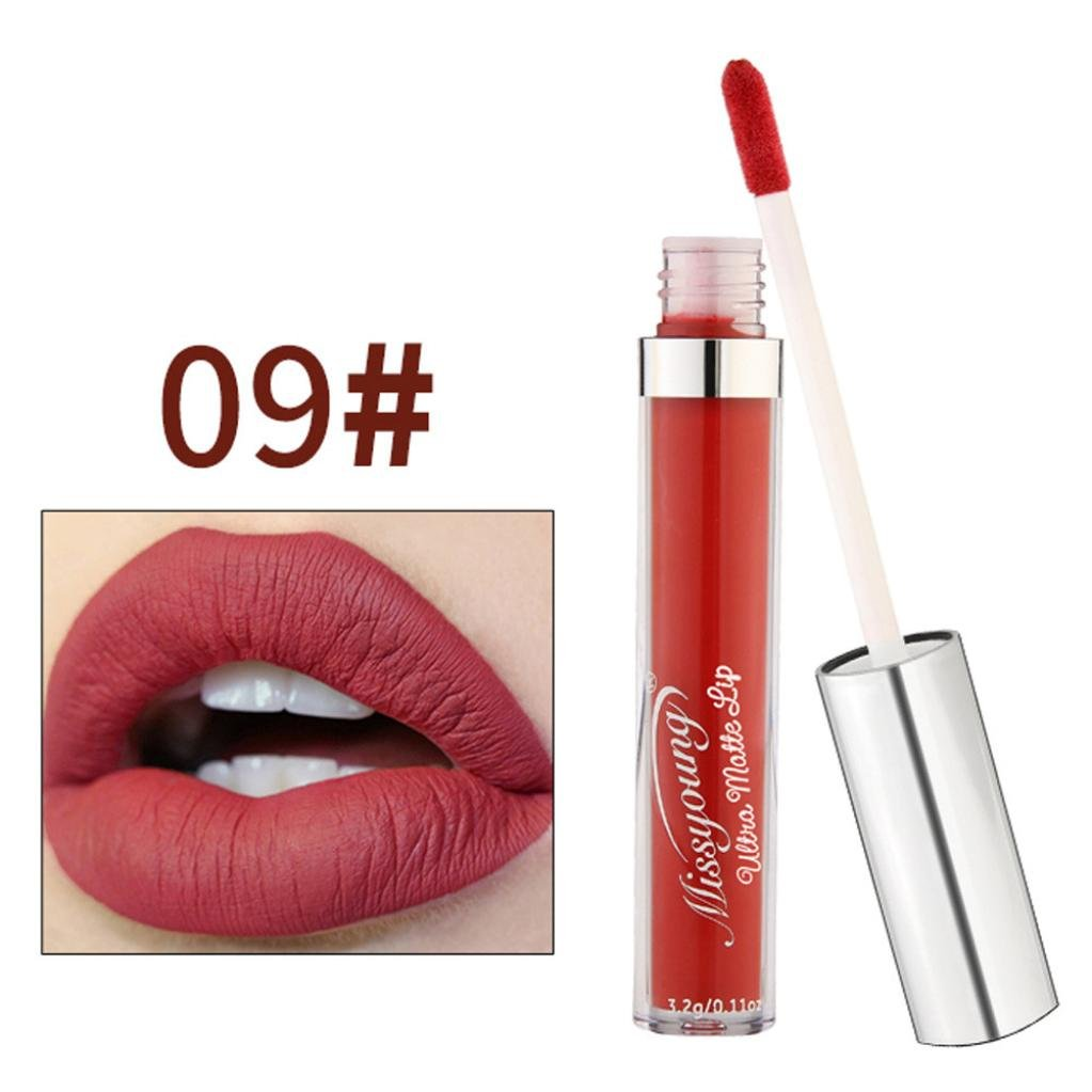 New Women Cosmetics Matte Lip Gloss & Metallic Lip brillant Moisturizing Long-lasting Luster Lipstick (MISS YOUNG 09#)