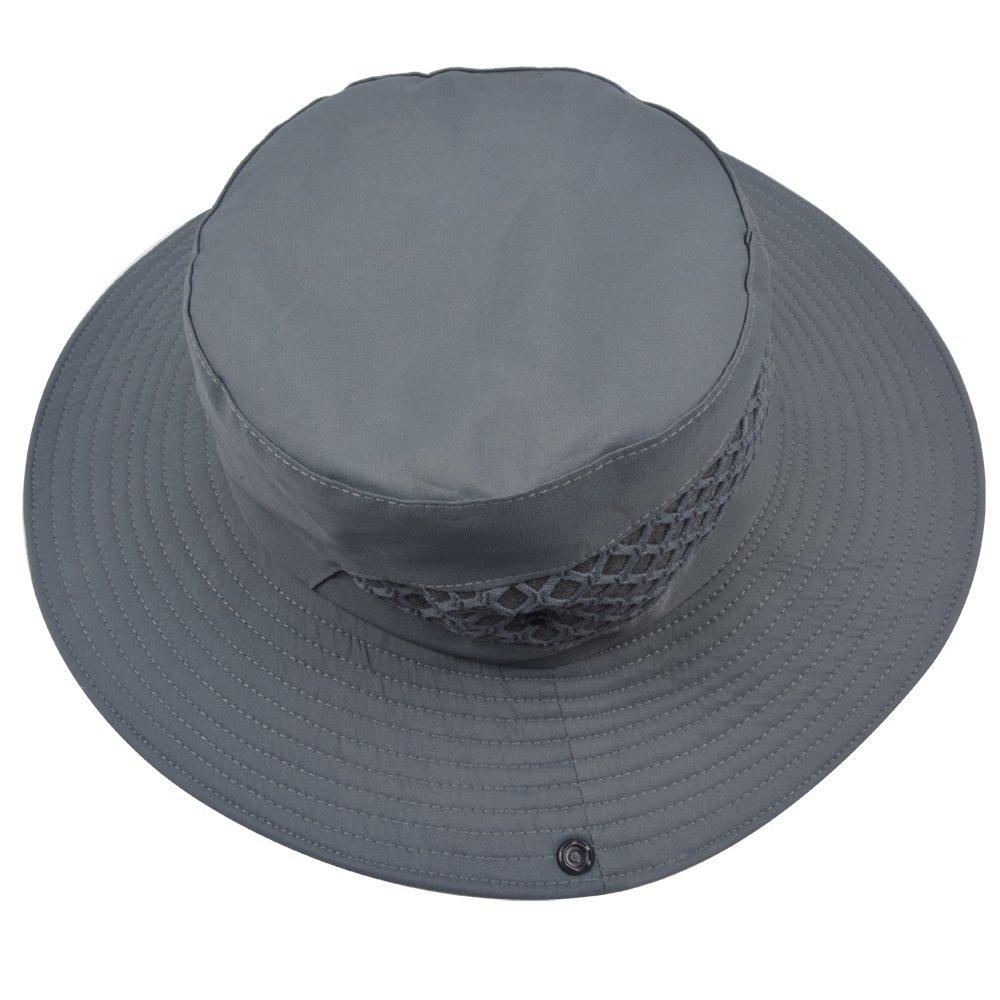 36df7a65b2fc2 SUNLAND Men s Fishing Hats Sun Hat Summer Hat Bucket Safari Caps Wide Brim  Packable Perfect for Fishing Gardening Grey