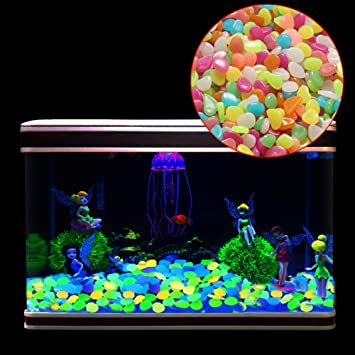 100pc Glow In The Dark Pebbles Stones Home Garden Walkaway Aquarium Fish Tank UK