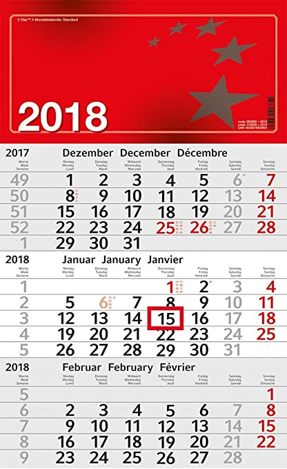 5 Star 962892 3 de mes calendario 2018: Amazon.es: Oficina y papelería