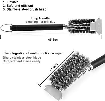 Binhai spazzola resistente a 3 rami in filo di acciaio inox per pulire le setole del barbecue spatola per la pulizia del barbecue 1 spazzola per la pulizia delle griglie e 2 spazzole per olio
