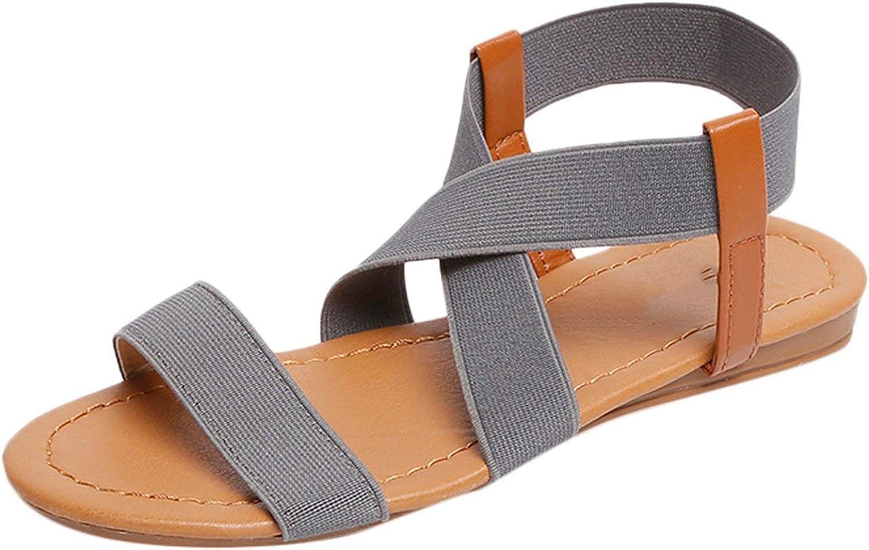 Women Sandals Hot Fashion Women Summer Beach Roman Sandal Ladies Open Toe Flat Sandal,Gray,38