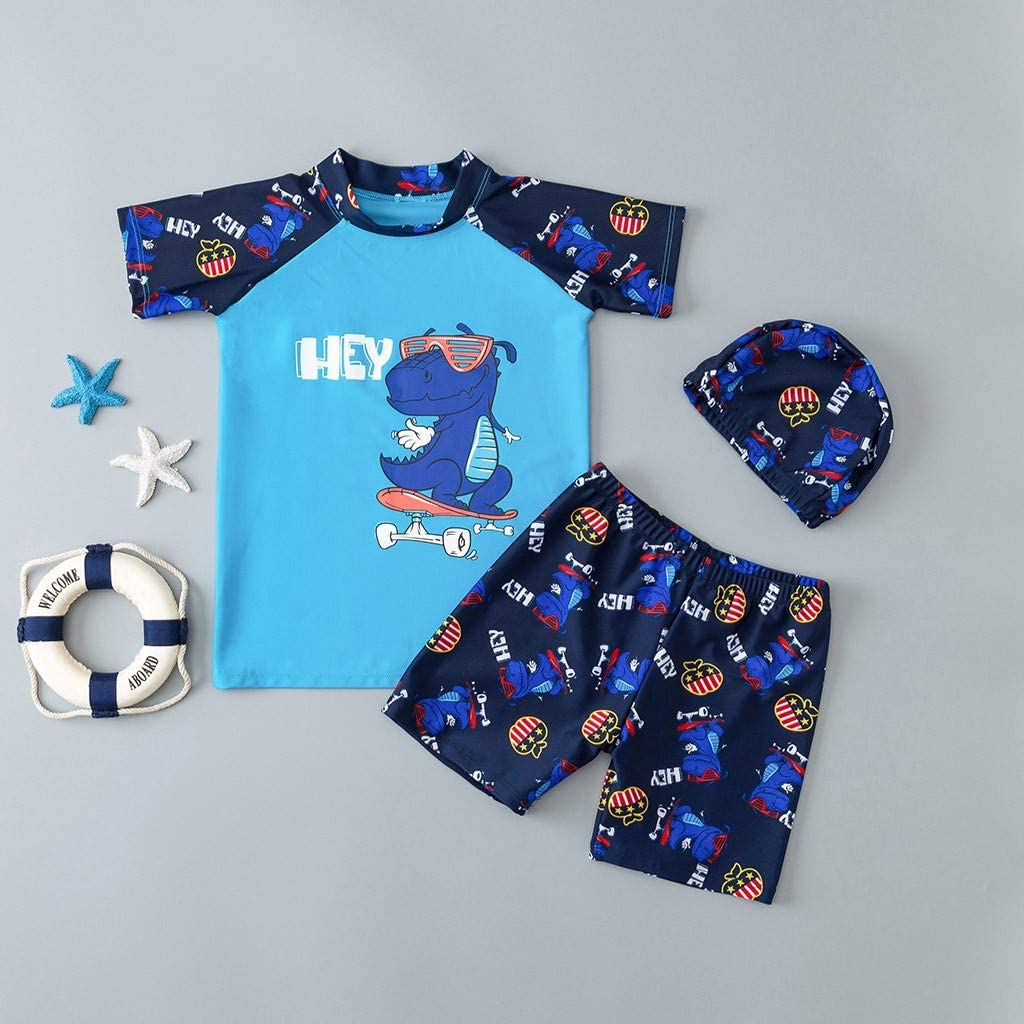 11-12 Years Old Baby Top and Pants Set Kids Boys Short Sleeve Dinosaur Printed Swimsuit Tops Shorts and Hat Set Blue