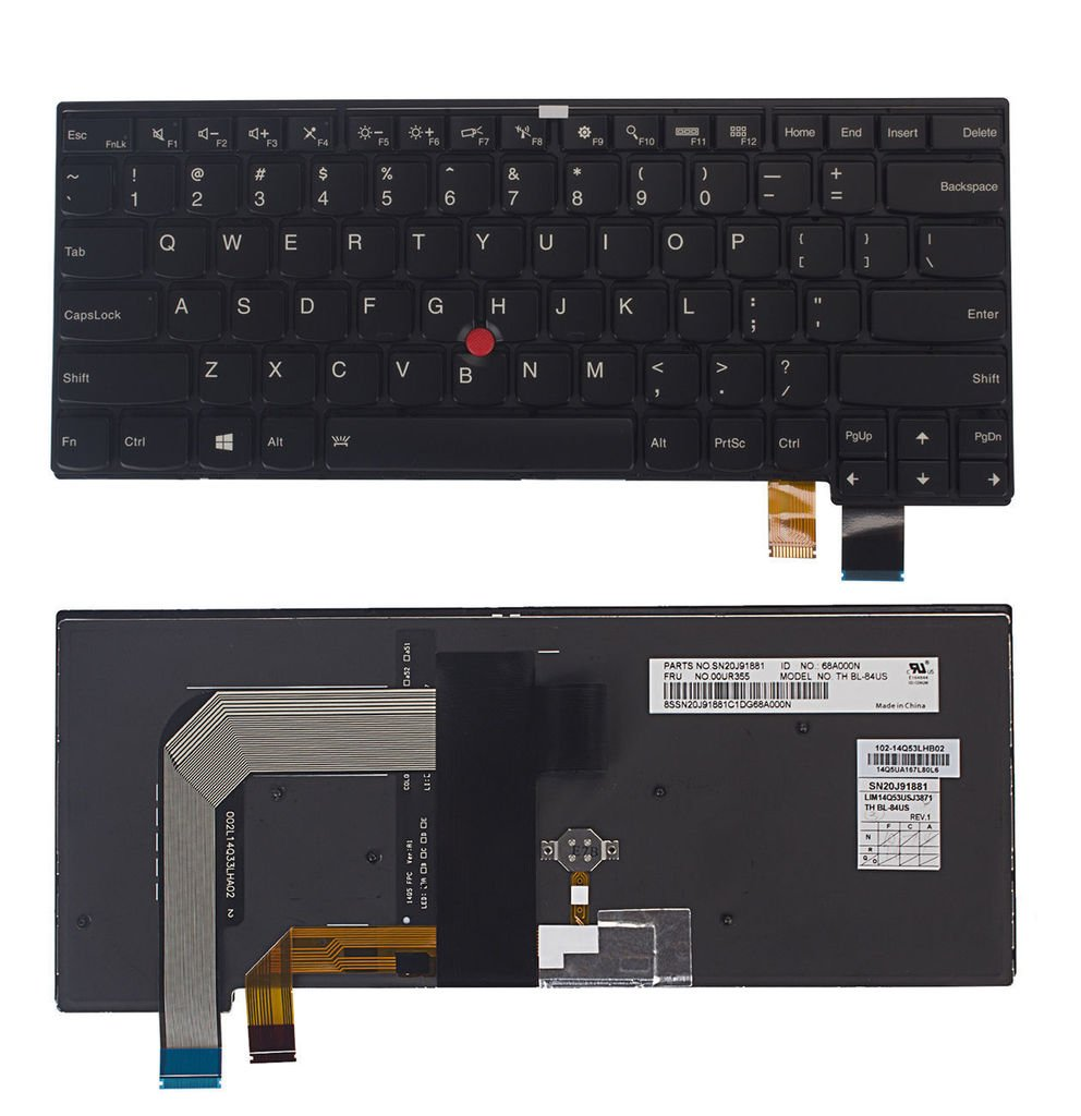 US Layout Backlit Replacement Keyboard with Trackpoint For Lenovo Thinkpad T460s Series Laptop (NOT Fit T460 T460P) Series Laptops Compatible 00PA534 9Z.NCJBT.001 SN20H42446