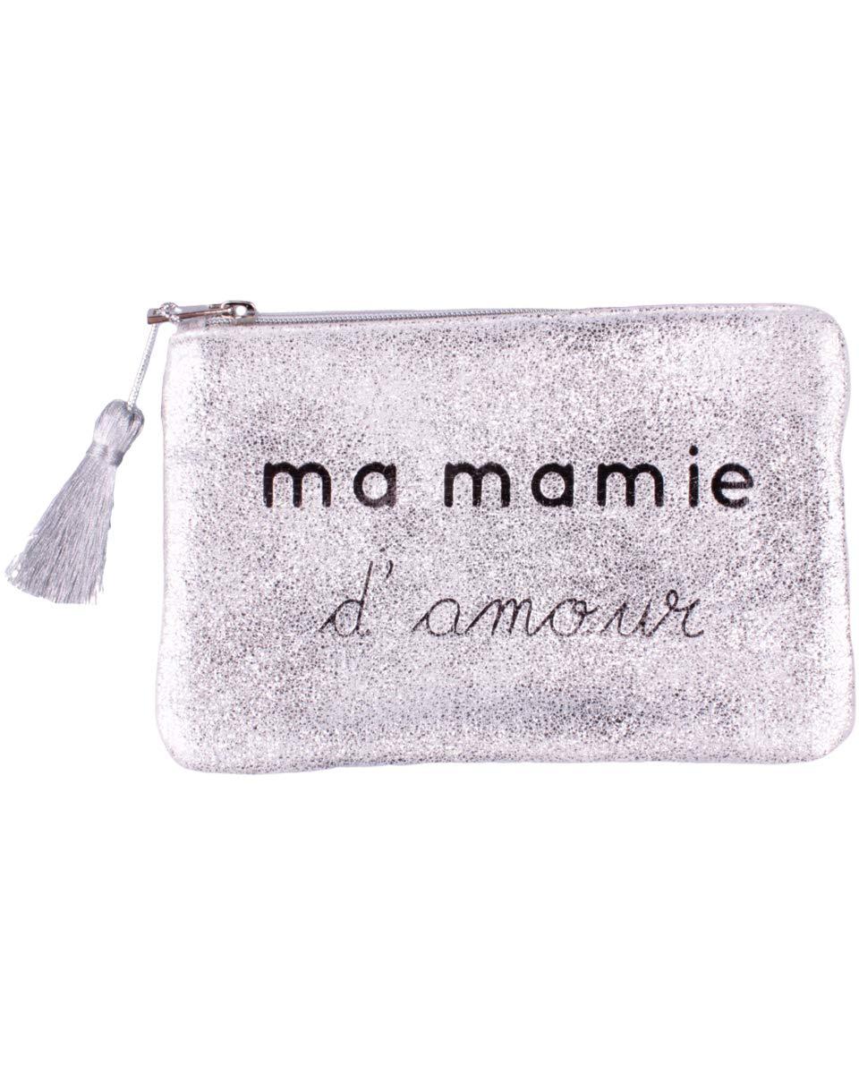 Petite Pochette LOL Argent paillet/ée Ma Mamie damour et Pompon