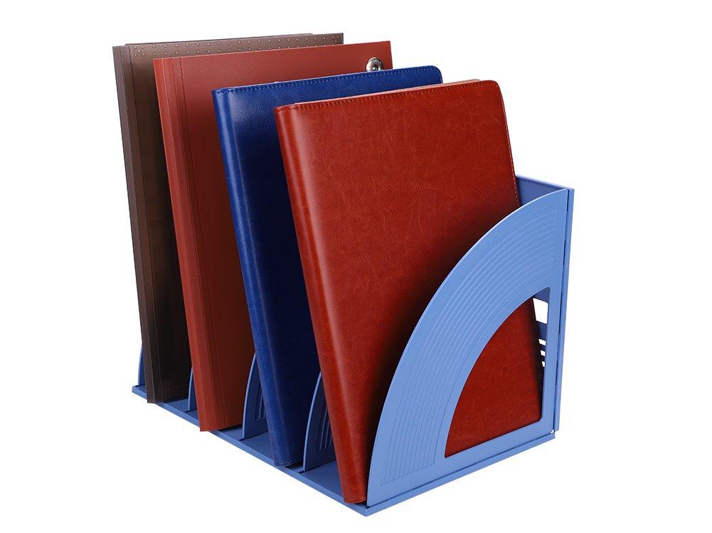 Desktop Magazine cartellina porta documenti di plastica file Frame divisori DIY Storage box quadruplicate Paperwork supporto di riempimento scaffale da tavolo e 4scomparti per ufficio scuola casa Assembled size 23*23*33cm(9*9*12 inch) Nero Magazine folder