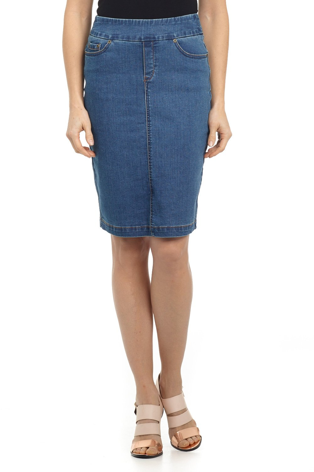 Rekucci Jeans Women's ''Ease In To Comfort Fit'' Pull-on Stretch Denim Skirt (10,Md. Stone Wash)