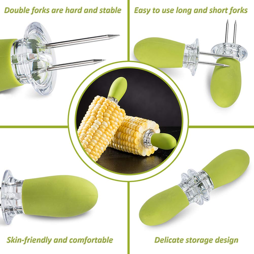 PAIR PERSONALISED WOODEN HANDLED STAINLESS CORN ON THE COB SWEETCORN HOLDER FORK