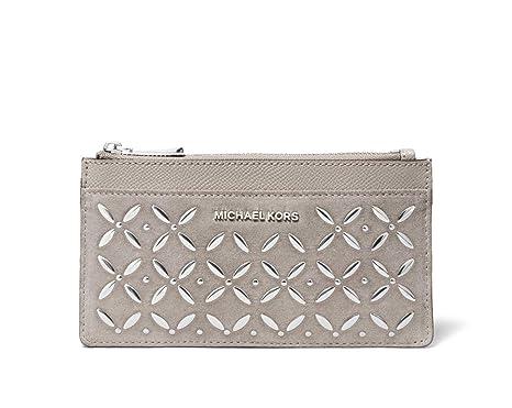 huge selection of b9efa c3a6b Michael Kors Embellished Large Slim Card Case Wallet - Pearl Grey