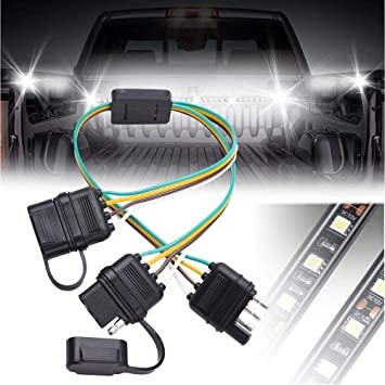 GTP Flat 4 Pin Y-Splitter Adapter Trailer Extension Harness Connector  Pin Wiring Harness Splitter on