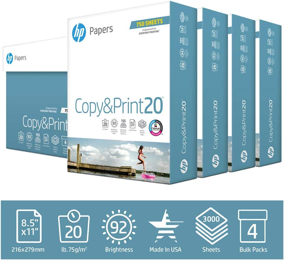 HP Printer Paper 8.5x11 Copy&Print 20 lb 4 Bulk Pack Case 3000 Sheets 92 Bright Made in USA FSC Certified Copy Paper HP Compatible 200030C
