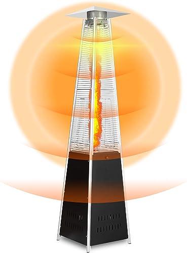Pyramid Patio Heater 48000 BTU Quartz Glass Tube Outdoor Heater Liquid Gas Propane Heater Adjustable Thermostat Party Restaurant Floorstanding Stove Heater