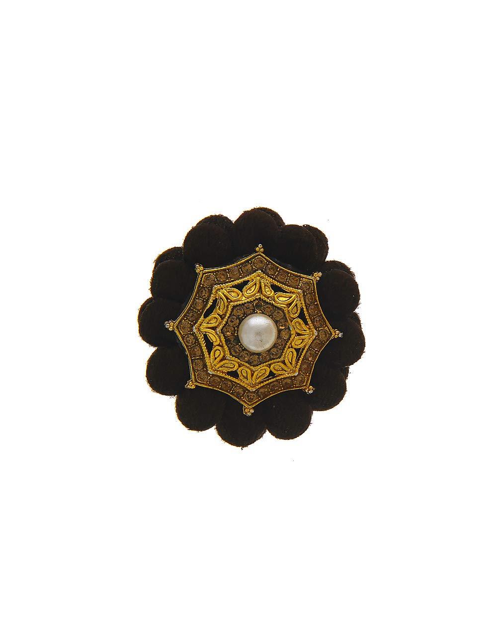 Anuradha Art Black Colour Styled with Studded Stone Wonderful Sari/Saree Pin for Women/Girls