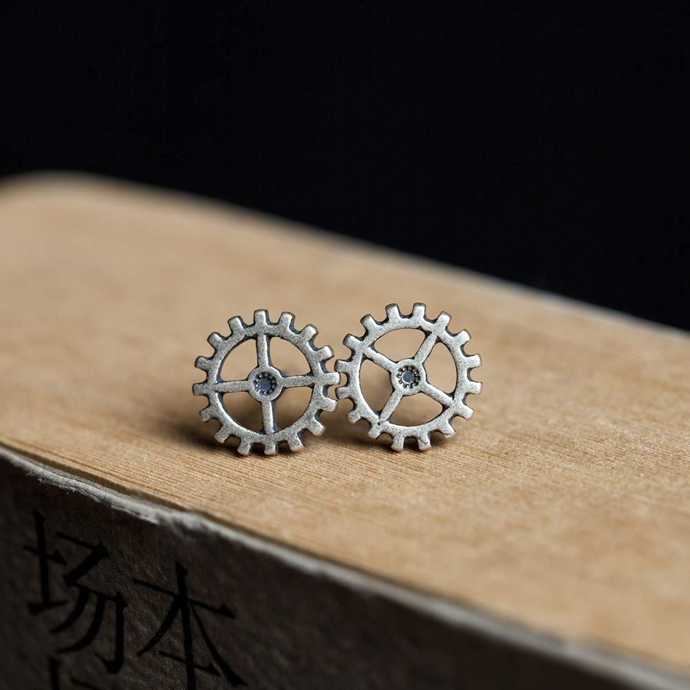 925 Sterling Silver Earrings Womens Vintage Accessories Metal Punk Steam Gear Studs Personality Fashion Creative Gift Trend Old Craft