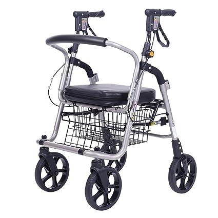 H.Slay Andadores Rollator Con 4 Ruedas Para Personas Mayores Aluminio Ligero Plegable Con Freno