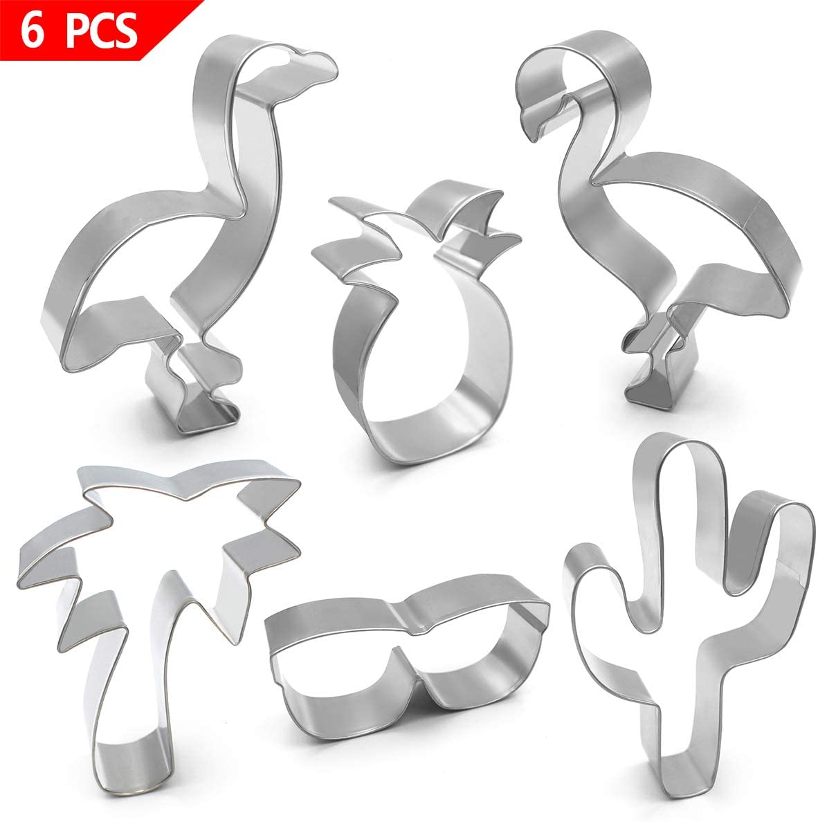 Birthday Party Gift 3 Piece Flamingo Seashell Palm Tree Cookie Cutter Set New
