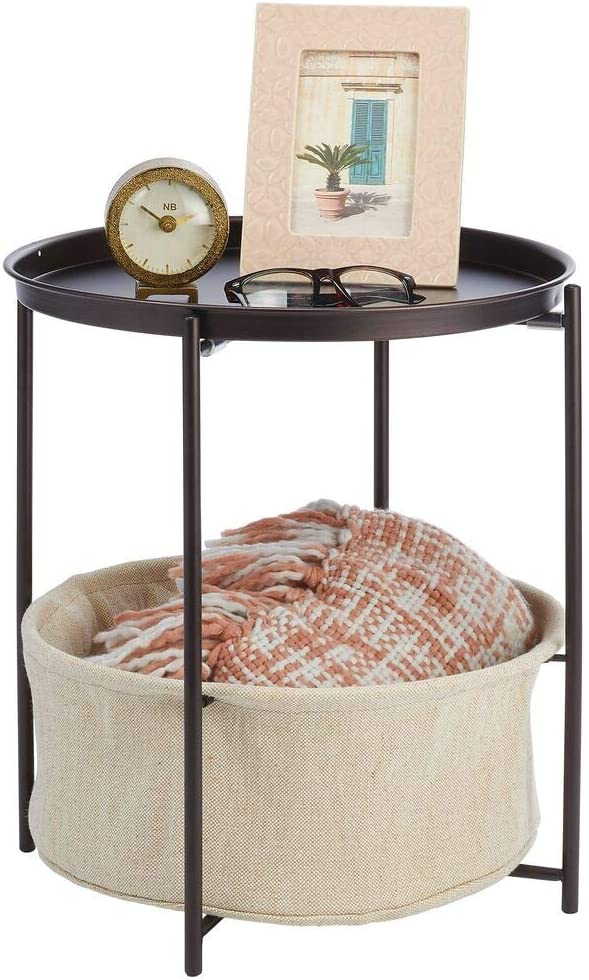 mDesign Side End Table Storage Nightstand - Sturdy Steel Frame, Water Hyacinth Woven Pull Out Basket Bin - Furniture Unit for Living Room, Bedroom, Hallway, Entryway - Bronze