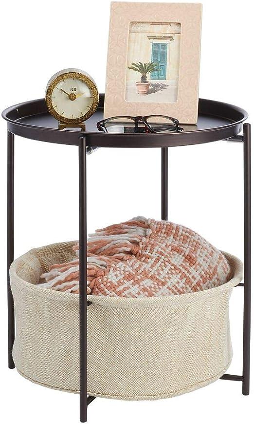 mDesign Mesa auxiliar con cesta de almacenamiento – Mesilla de ...