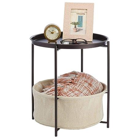 mDesign Mesa auxiliar con cesta de almacenamiento - Mesilla de ...