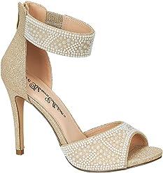 f2e5de829d De Blossom Collection Women's Shimmer Heeled Sandal with Faux-Pearl  Appliques (6, Nude
