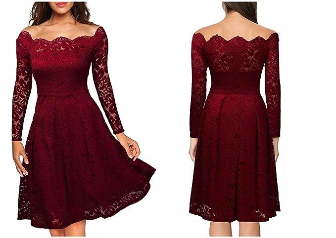 7469b249f922 Vestidos de Fiesta de Noche Elegantes De Mujer Casuales Largos De Encaje  Manga Larga VE0049