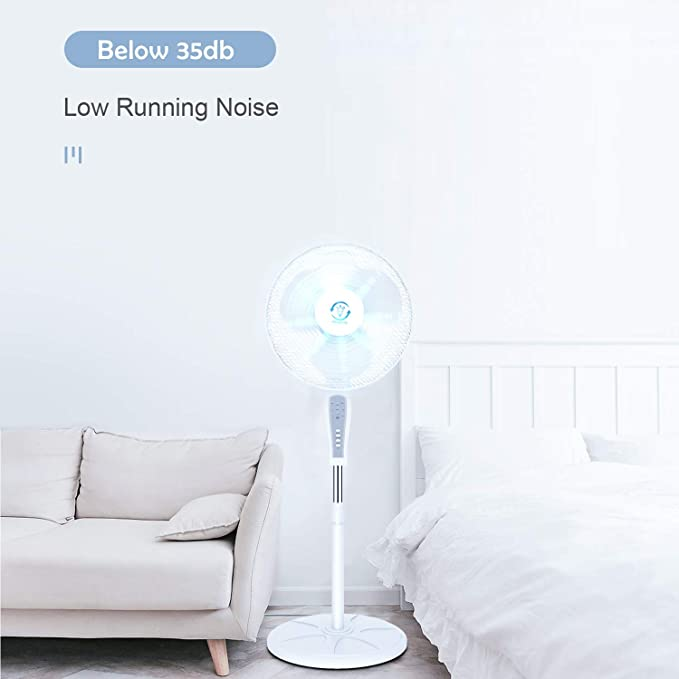 Famgizmo 16 Pedestal Fan Electric Floor Standing Cooling Fan,Oscillating,3 Speed Settings,4H Timer,Remote Control,Extendable Height 118-130cm