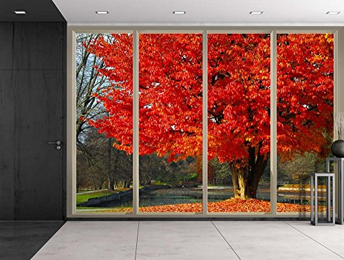 Red Tree by a Lake at the Park During Fall Time Viewed From Sliding Door Creative Wall Mural Peel and Stick Wallpaper