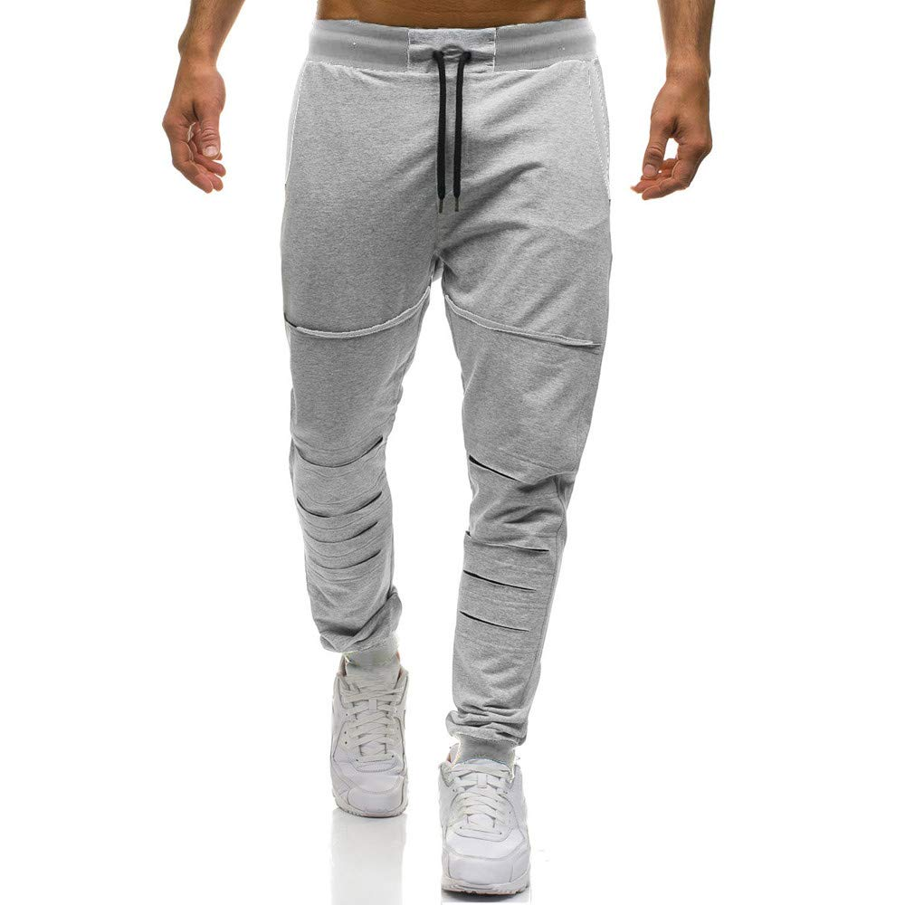 Spbamboo Mens Fashion Pants Clearance Trousers Casual Holes Pants Sweatpants