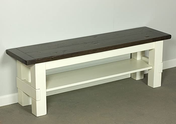 Beau Two Tone Storage Bench, Farmhouse Bench With Shelf, Solid Wood Bench