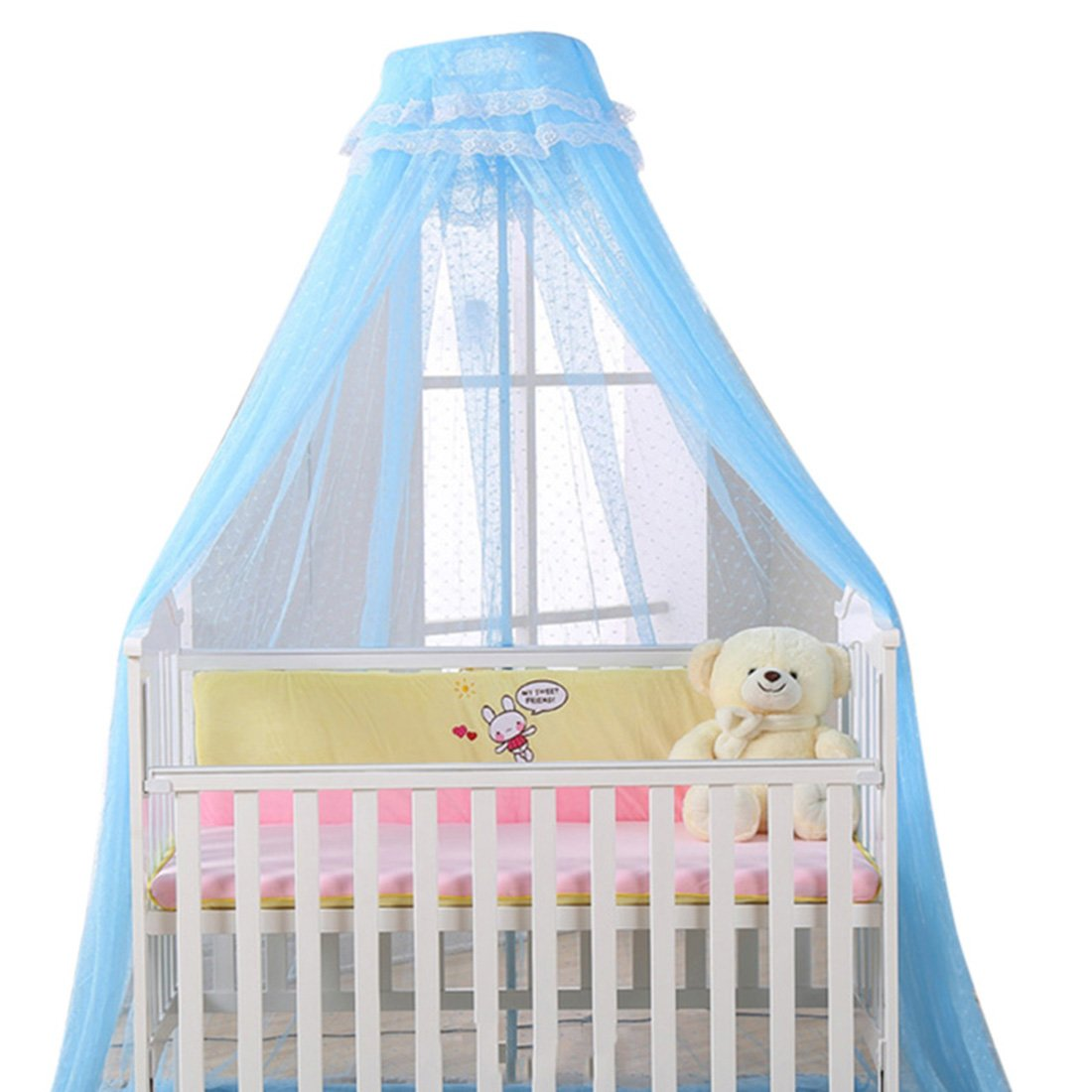 Tiantuo Baby Bed Crown Canopy Royal Court Mosquitoes Cover Polyester Yarn Stainless Steel Mosquito Nets for Children Fly Insect Protection Blue Net + Holder