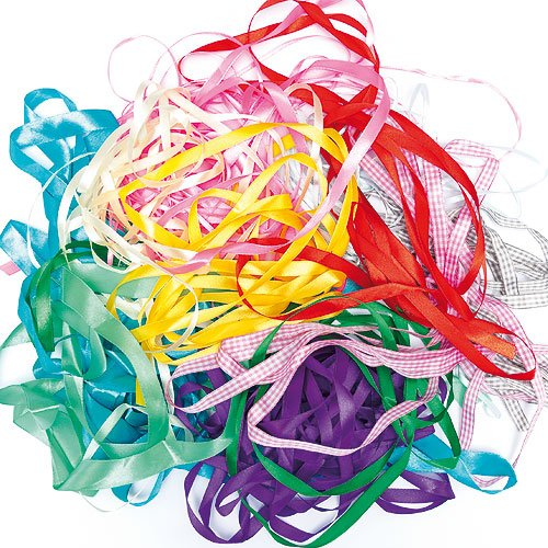 (Assorted Ribbon Pack for Children's Craft Projects, Card Making, Collage - 75g bag)