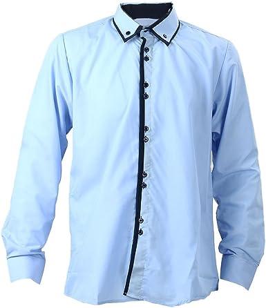 TOOGOO (R) Nueva moda Casual con doble cuello tapeta contraste del color de la manga larga de la camisa de los hombres Azur - XL