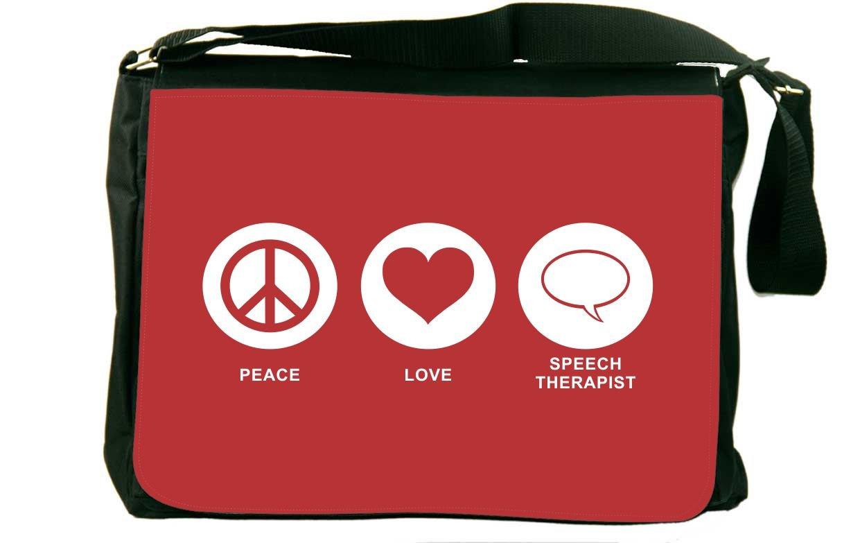 Rikki Knight Peace Love Speech Therapist Red Color Messenger Bag School Bag