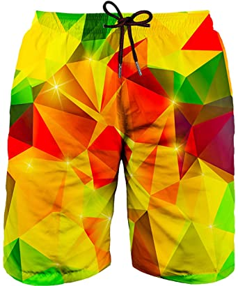 db8284ea82d Asylvain Men's Neon Swimming Trunk Shorts with Yellow and Red Graphic  Bathing Suit Board for Men