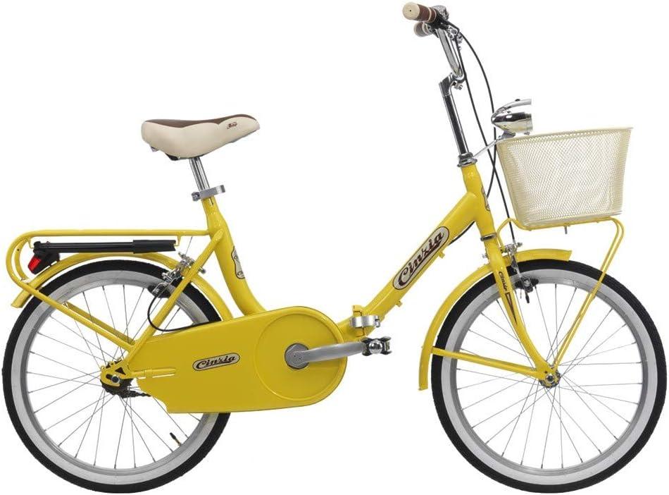 Cinzia - Bicicleta plegable Smarty S/C con cesta amarilla brillante: Amazon.es: Deportes y aire libre