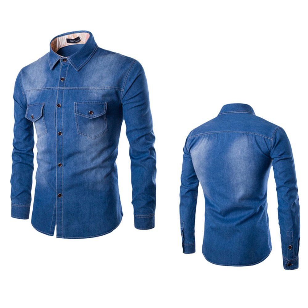 Charberry Mens Casual Denim Long Sleeve Shirt Top Autumn Fashion Slim Fit Cotton Blouse Clearance Sale