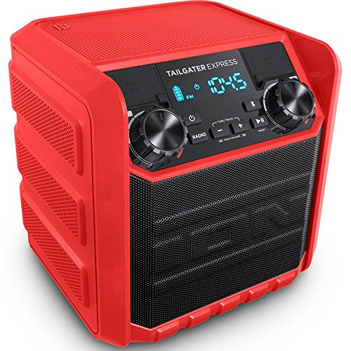 ION Audio Tailgater Express Red | Compact Water-Resistant Wireless Speaker System with AM/FM Radio & USB Charge Port (20W)