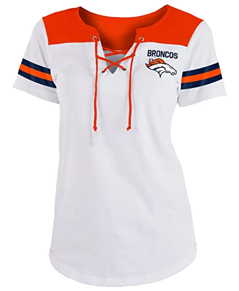 c1edd2e0 Amazon.com : New Era Denver Broncos Women's Sleeve Striped Lace-up T ...