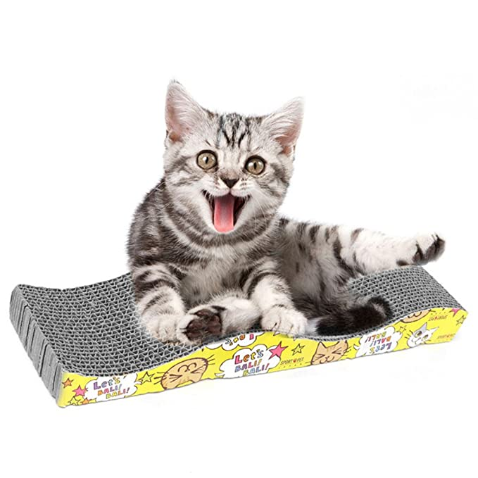 Amazon.com : yodaliy Scratcher Cat Toy, Corrugated Cat Scratcher Cardboard Curved Shape Scratch Pad Ergonomic Cardboard Sofa Lounge Wave for Little Cats and ...