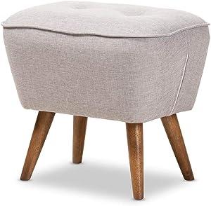 Baxton Studio Petronelle Mid-Century Modern Greyish Beige Fabric Upholstered Walnut Brown Finished Wood Ottoman
