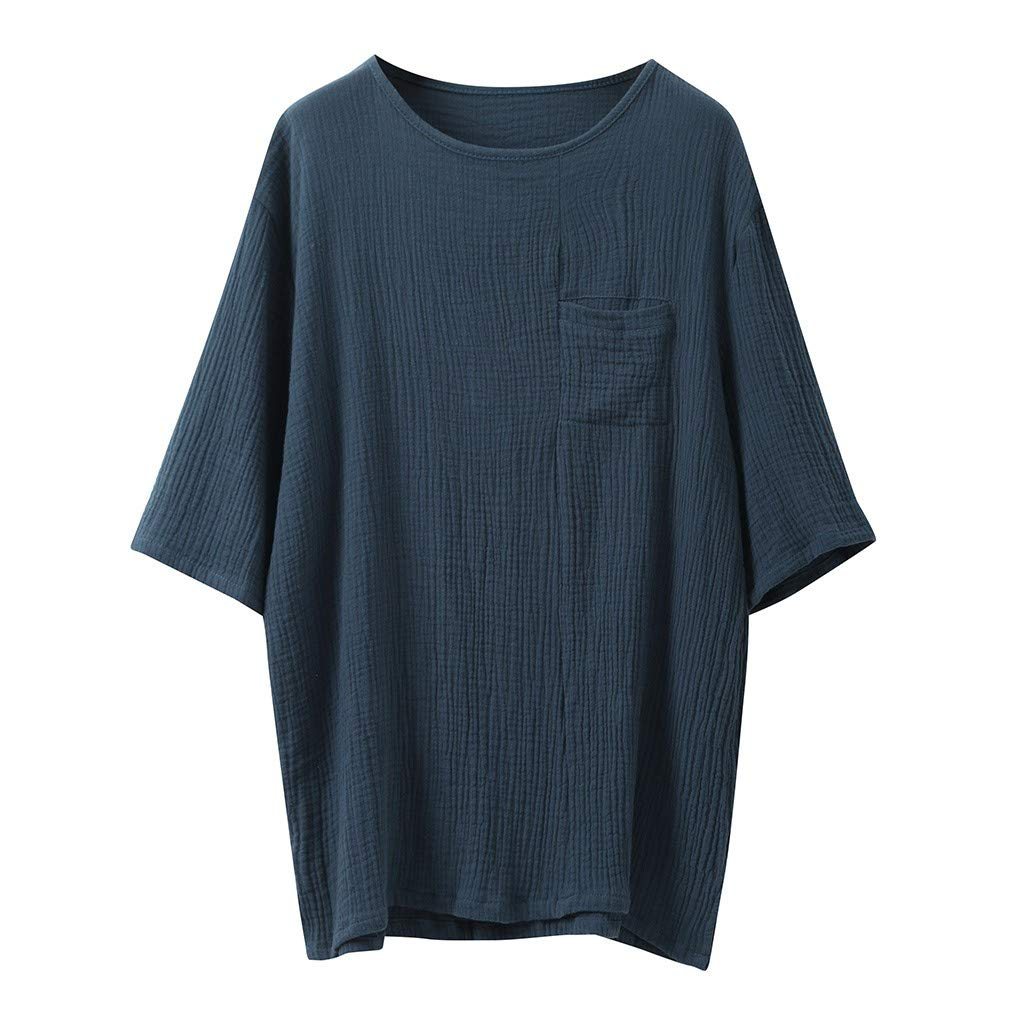 Casual Tops,Men's Baggy Cotton Linen SOID Color Short Sleeve Retro T Shirts Tops Blouse,Navy,M