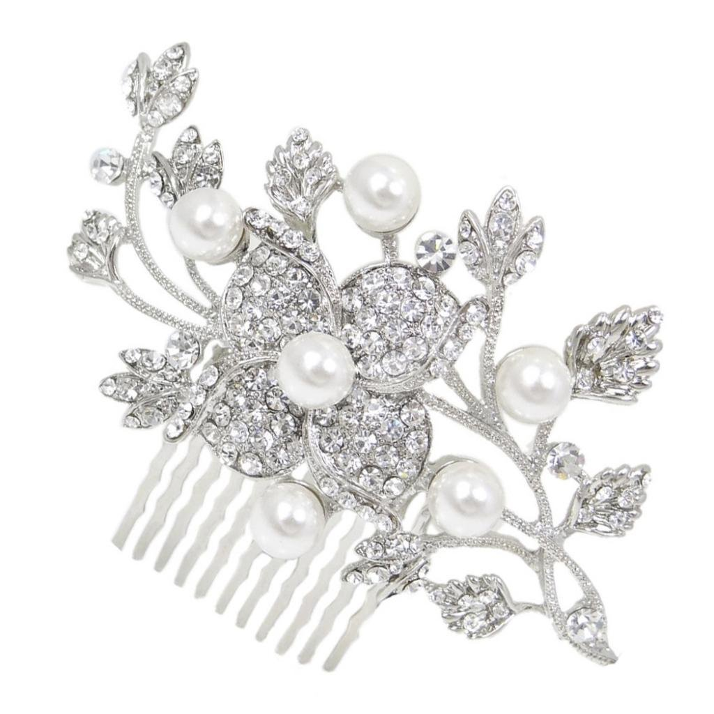 Ever Faith Bridal Silver-Tone Orchid Flower Leaf Simulated Pearl Austrian Crystal Clear Hair Comb N01608-1