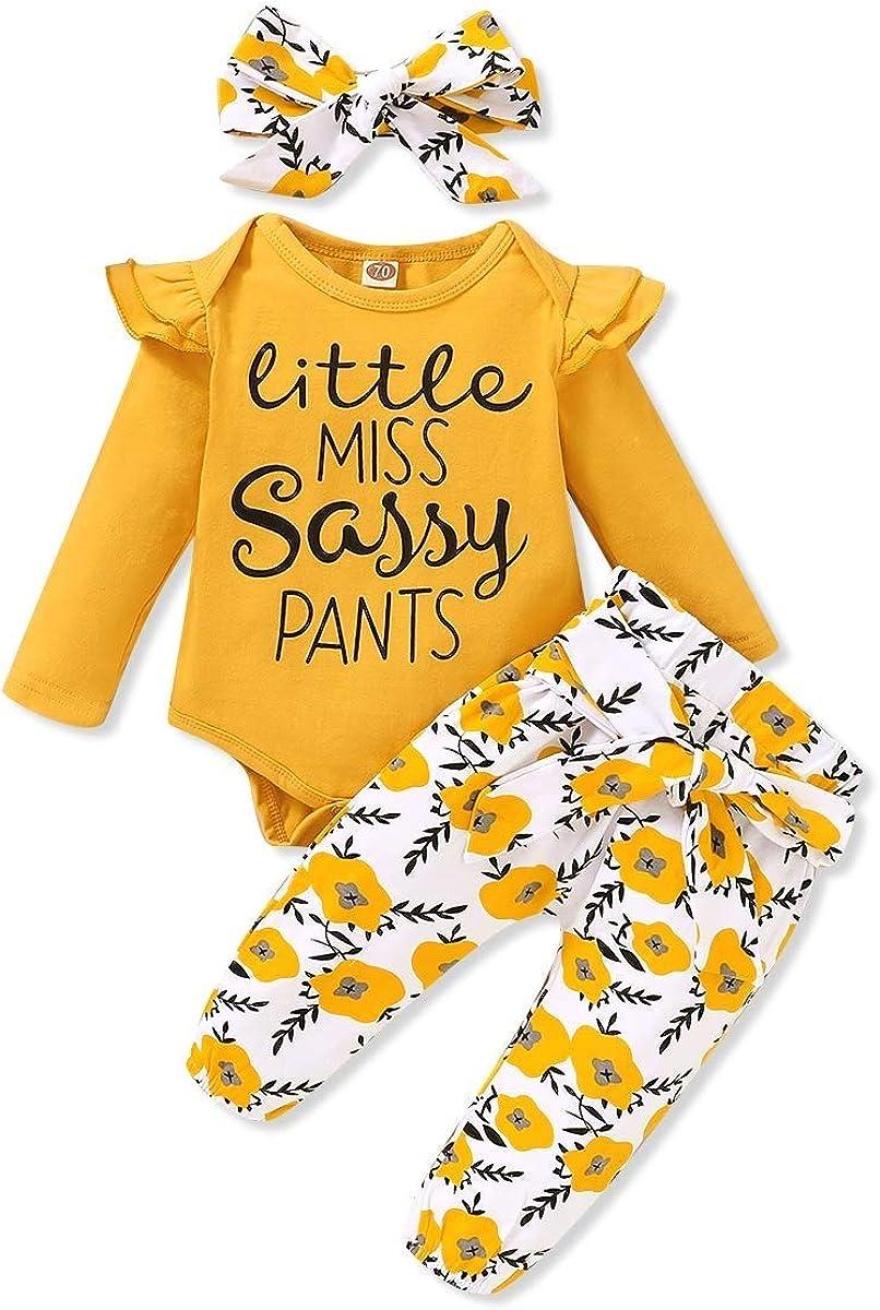 SANMIO Ropa Bebe Niña 3 Piezas Camiseta Manga Larga + Floral Pantalones + Venda de Pelo Trajes por 0-18 Meses