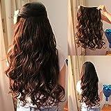 Osking Curly/Wavy Full Head Clip In Hair Extensions, 24', Dark Brown