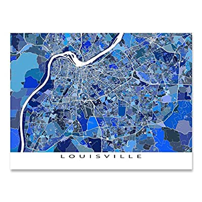 Louisville Map Art Print, Kentucky USA, City Artwork, Blue