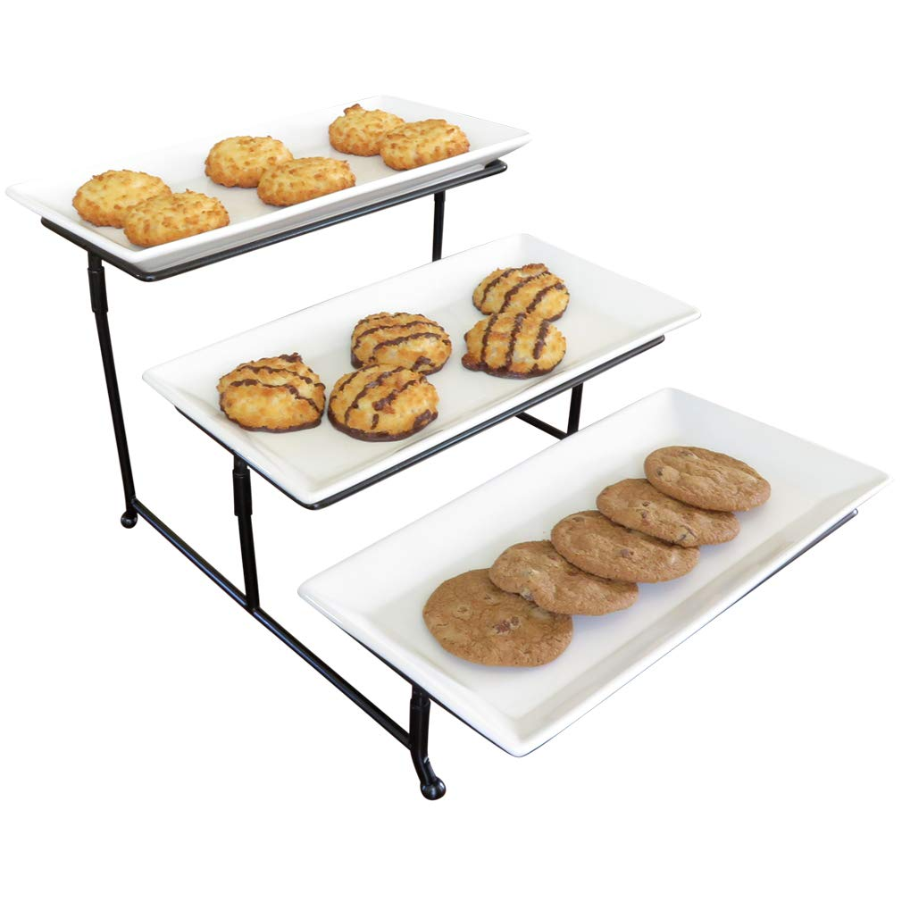 Evelots 3 Tier Rectangular Serving Platter, Cake Tray & Display Plate Rack Green Mountain Imports 7120