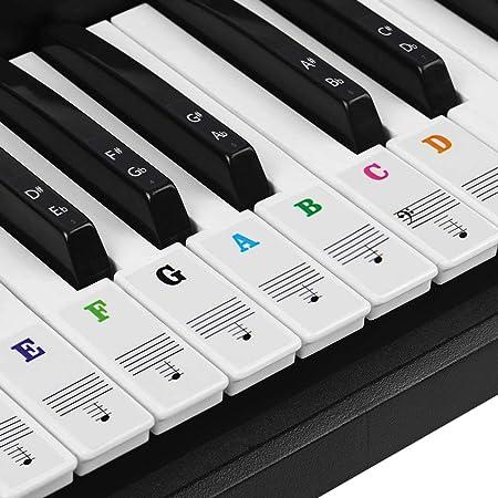 BUZIFU Pegatina para Piano Transparente Pegatina Notas Etiquetas de Teclas del Piano para Piano/Teclado Electrónico de 37/49/54/61/88 Teclas para ...