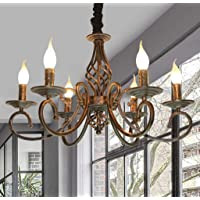 Pendant Light Vintage Industrial Pendant lamp Black Metal and Glass Wood Rustic Chandelier Height Adjustable Suitable…