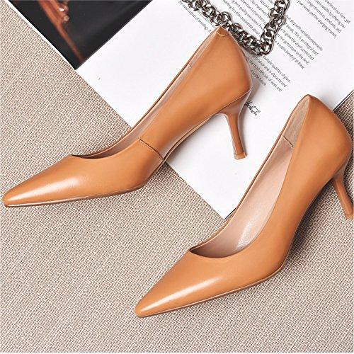7cm Transpirable Punta AJUNR sexy high fina Sandalias amarillo heels versátil y elegante Kang Moda 35 y 37 qCCEwn7UI
